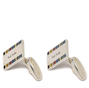 Paul Smith Silver Sterling Multi Stripe Edge Cufflinks