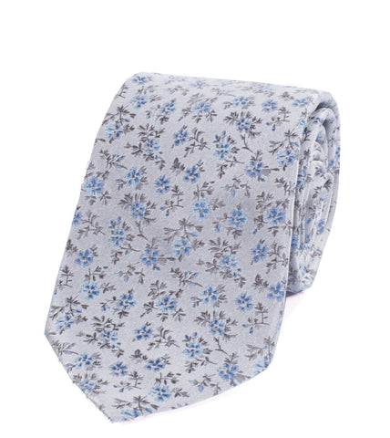 Paul Smith 8cm Light Grey Floral Tie