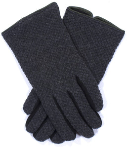 Paul Smith Grey Black Suede Wool Gloves