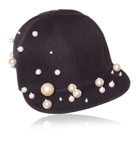 Piers Atkinson Black Cap With Pearls