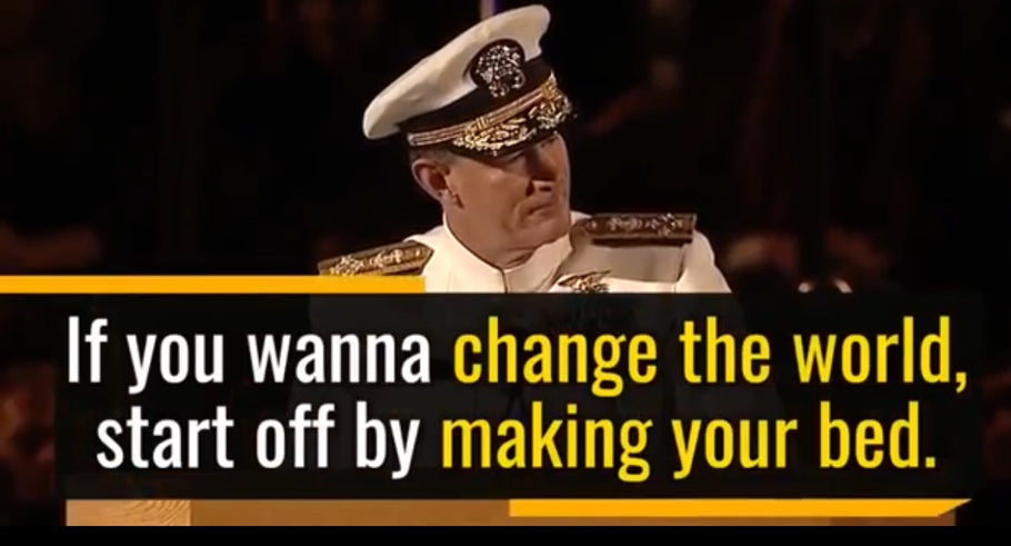 US Navy Admiral, William H. McRaven, delivers a speech about the importance of doing the little things like making your bed, embracing the fears of life, and changing the world, all from one small task.