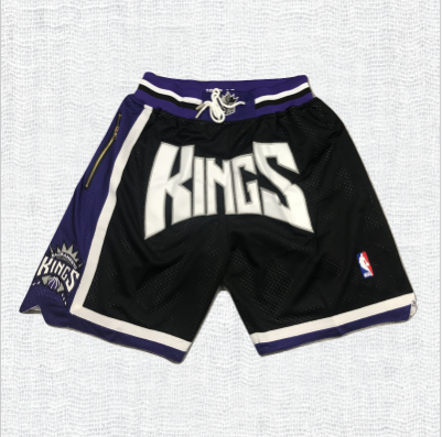 Sacramento Kings Black Basketball Shorts with Pocket