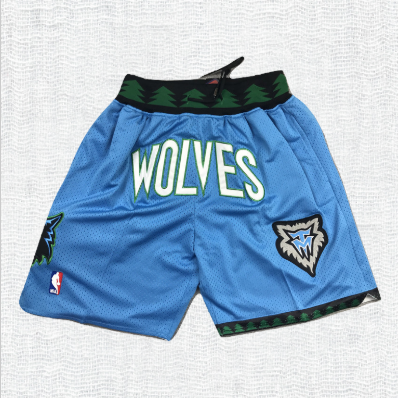 Minnesota Timberwolves Basketball Shorts Sky Blue with Pockets