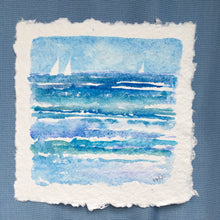 "Load image into Gallery viewer, Sail Away, original watercolor, 6""x6"""
