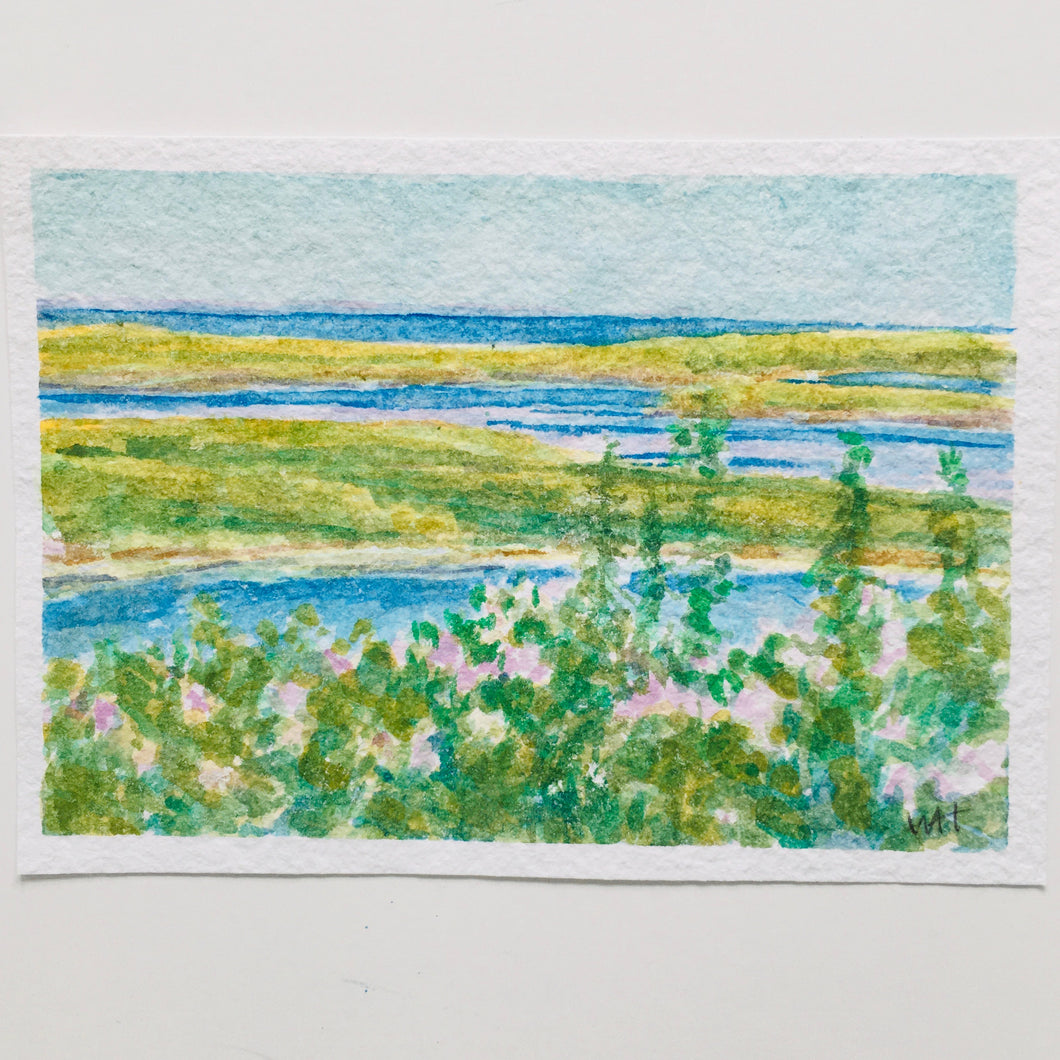 Afternoon at the Salt Marsh, original watercolor, 5x7