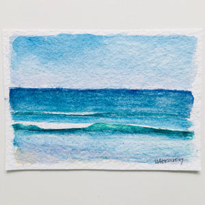 "Beach Day Blue, original watercolor, 5""x7"""