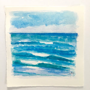 "Waves for Days, original watercolor, 5.25""x5.25"""