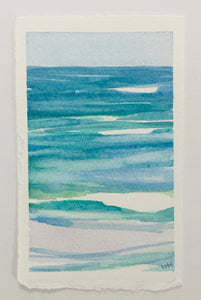 "Layered in Blues, original watercolor, 5.5""x3.5"""