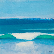 "Load image into Gallery viewer, Beach Day Surf, acrylic on paper, 4.25""x4.25"""