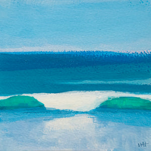 "Beach Day Surf, acrylic on paper, 4.25""x4.25"""