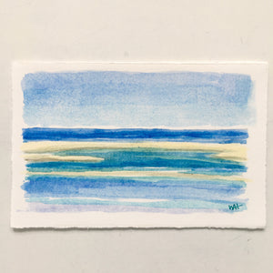 "Beach Time!, original watercolor, 3""x5"""