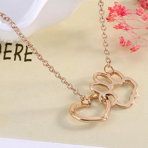 Necklace For Women Personalized Fashion Jewelry Crystal Rhinestone Dog Paw Glod