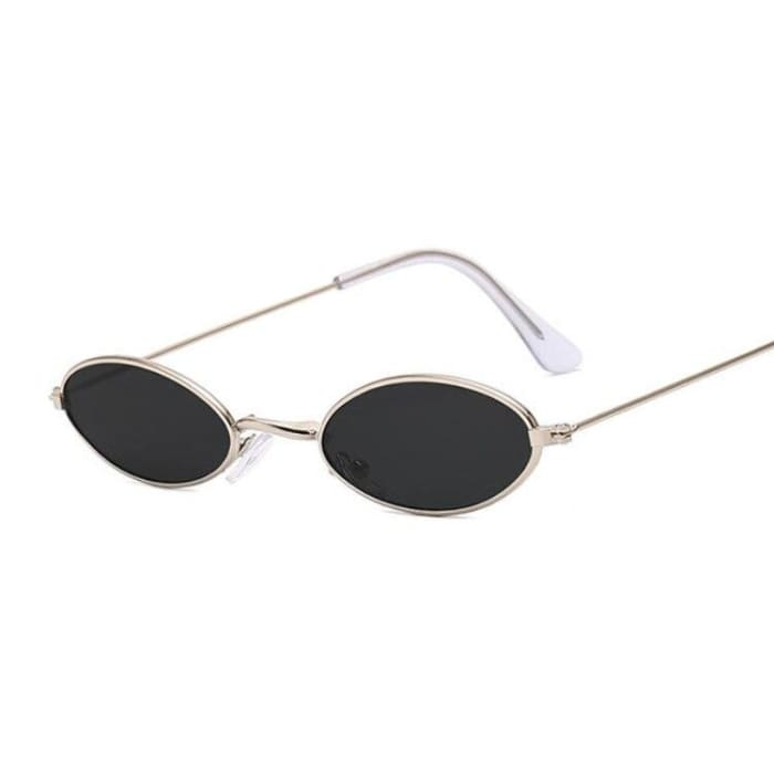 90S OVAL SUNGLASSES - Gold Black