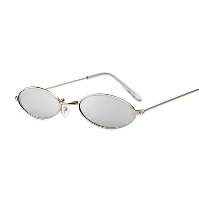 90S OVAL SUNGLASSES - Gold Gray