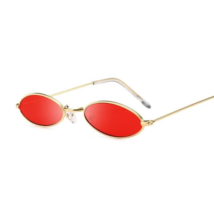 90S OVAL SUNGLASSES - Gold Red