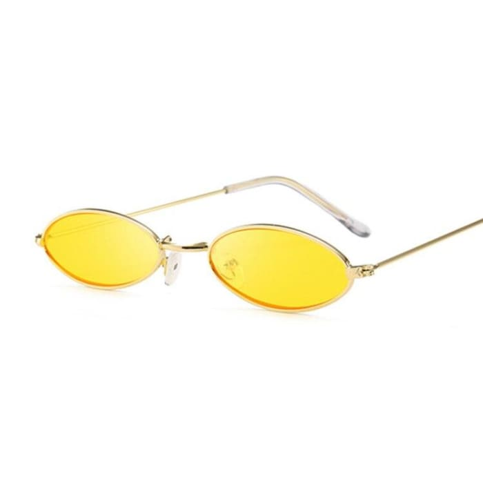 90S OVAL SUNGLASSES - Gold Yellow