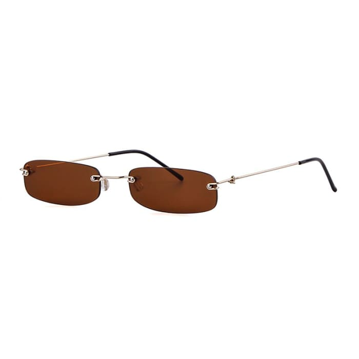 90S RIMLESS SUNGLASSES - Brown