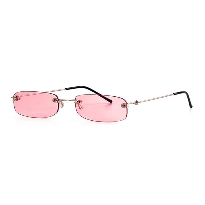 90S RIMLESS SUNGLASSES - Light Red
