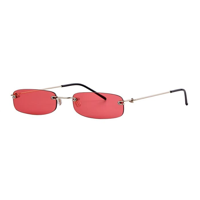 90S RIMLESS SUNGLASSES - Red