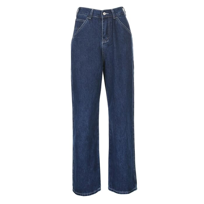 BAGGY DARK BLUE JEANS - Blue / S