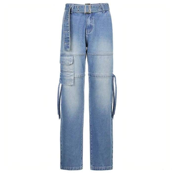 BELTED CARGO BLUE JEANS - Blue / S