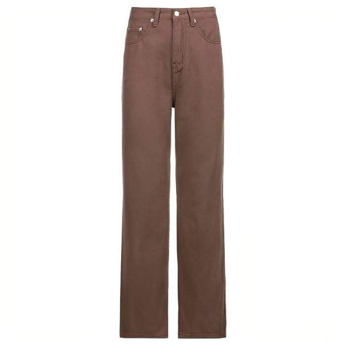 BROWN BAGGY JEANS - Brown / M