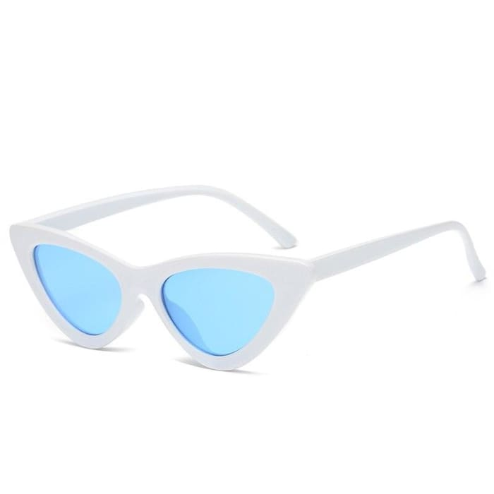 CAT EYE SUNGLASSES - White/Blue