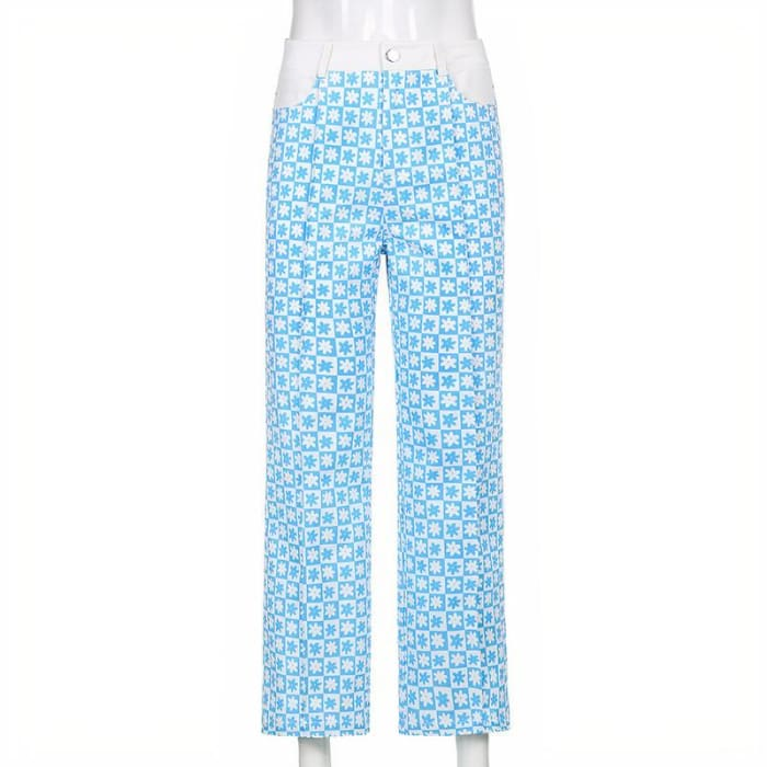 CHECKED FLOWER PANTS - Blue / L