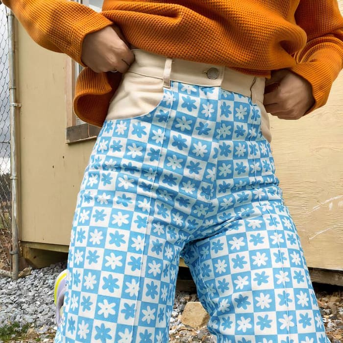 CHECKED FLOWER PANTS