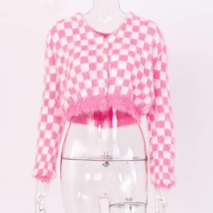CHECKERED PINK CARDIGAN - S / Pink