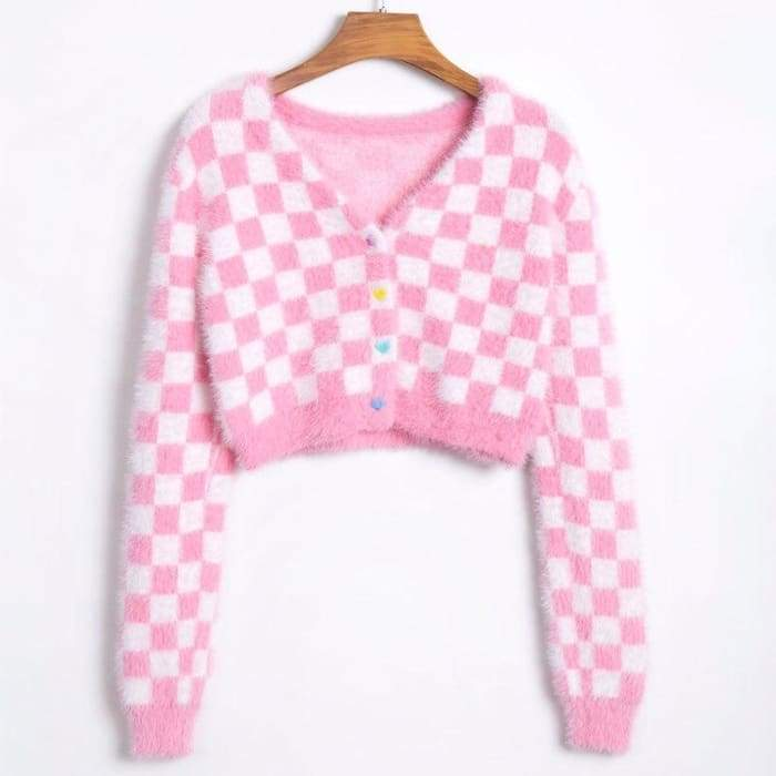CHECKERED PINK CARDIGAN