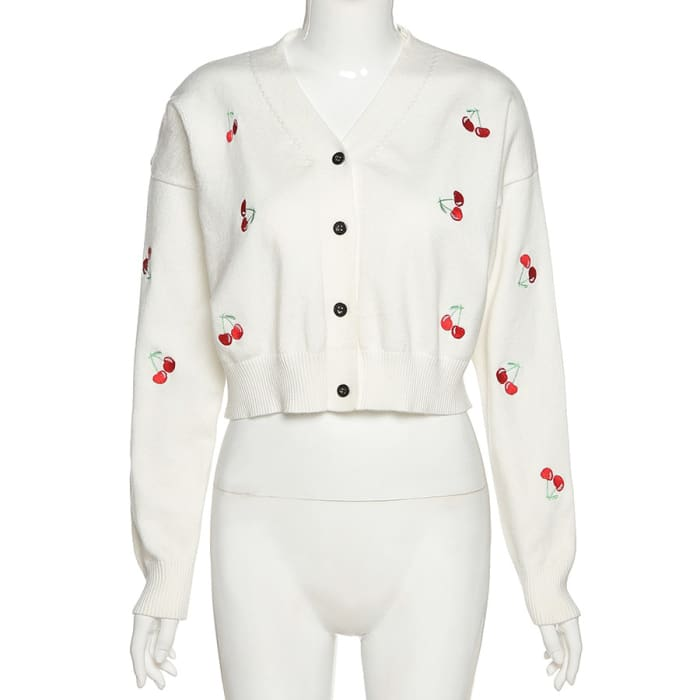 CHERRY CARDIGAN - White