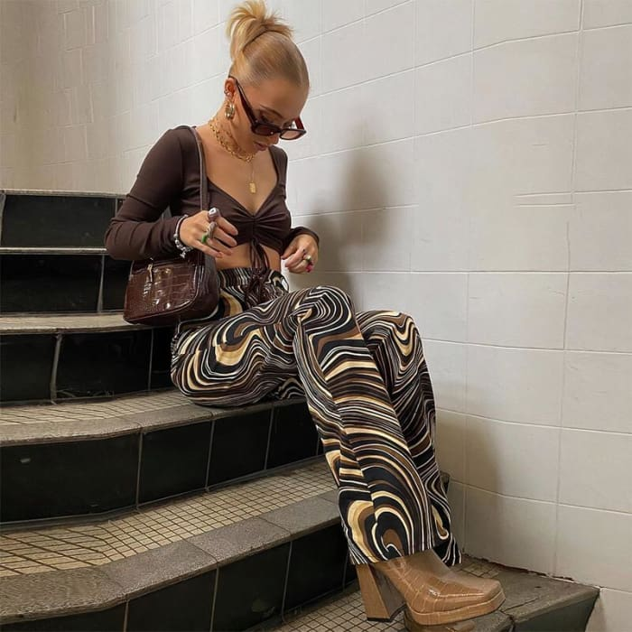 COFFE PAISLEY PANTS - Black / L