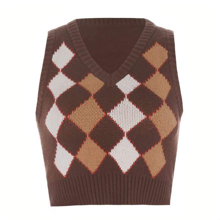 COFFE KNITTED TOP - L / Brown