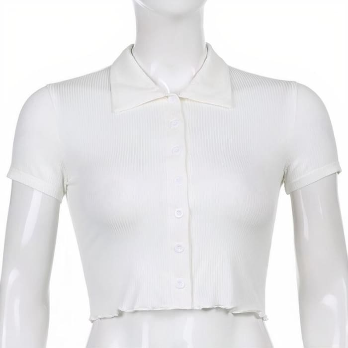 CROPPED BUTTON UP SHIRT - White / S