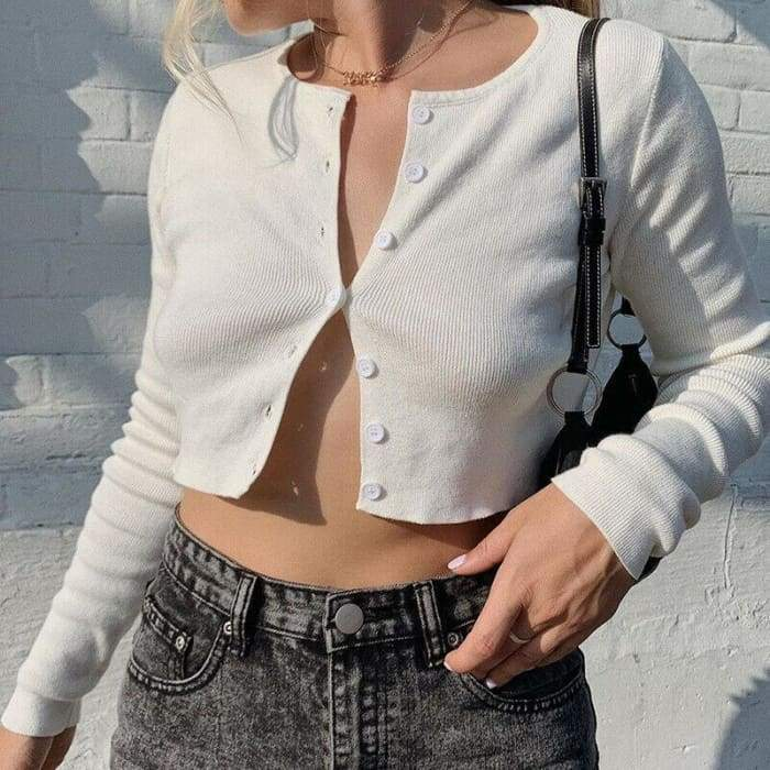 CROPPED CARDIGAN - White / S