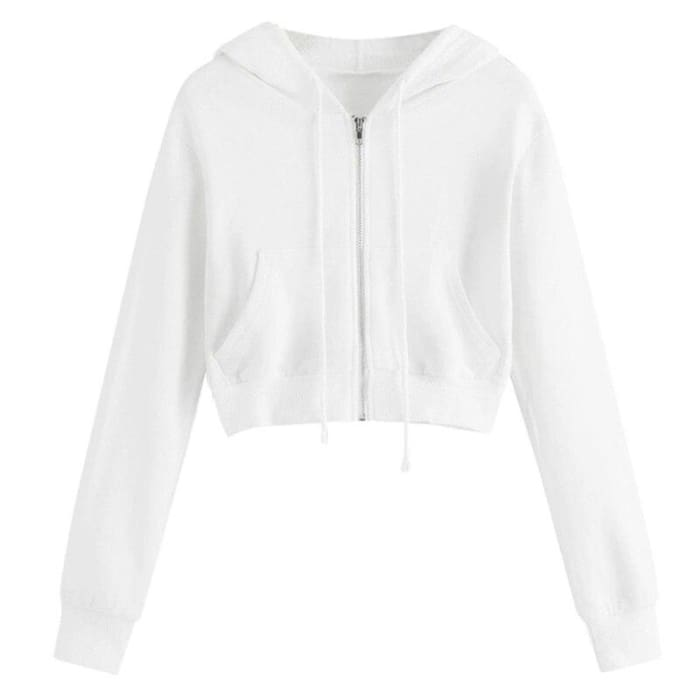CROPPED ZIP HOODIE - white / S