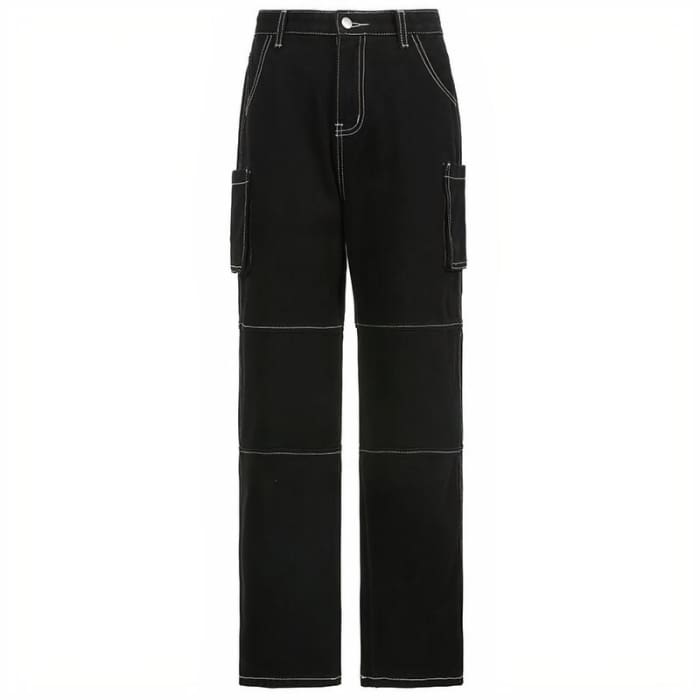 DARK BAGGY JEANS - Black / M