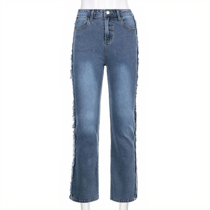 DISTRESSED LINE JEANS - Blue / L