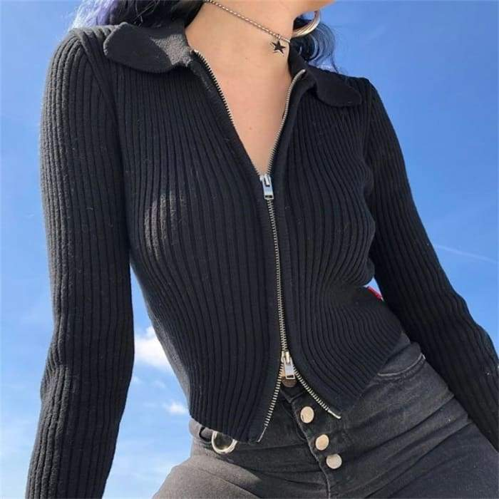 DOUBLE ZIP CARDIGAN - Black / One size