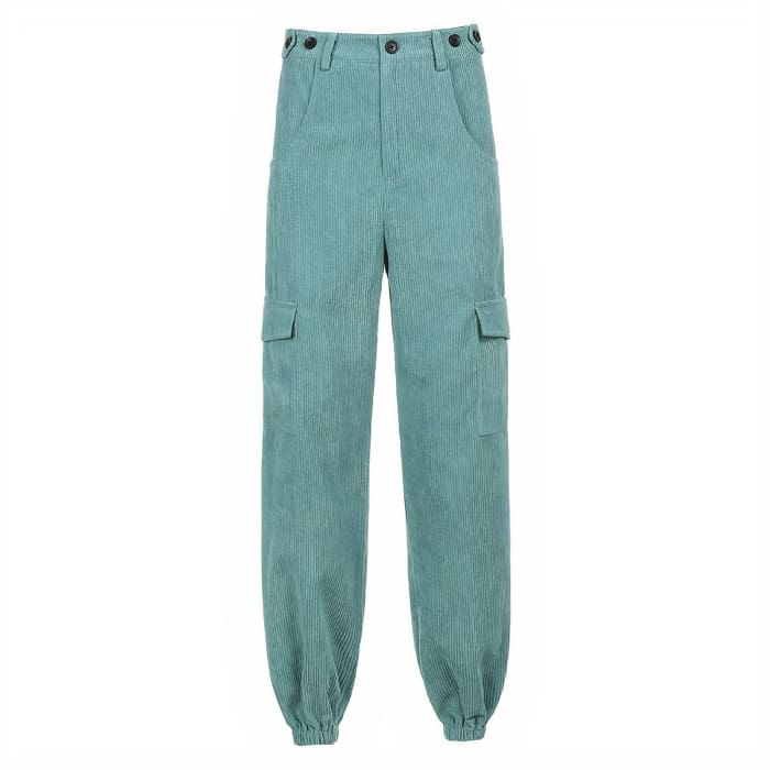 GREEN CORDUROY JOGGERS - Green / S