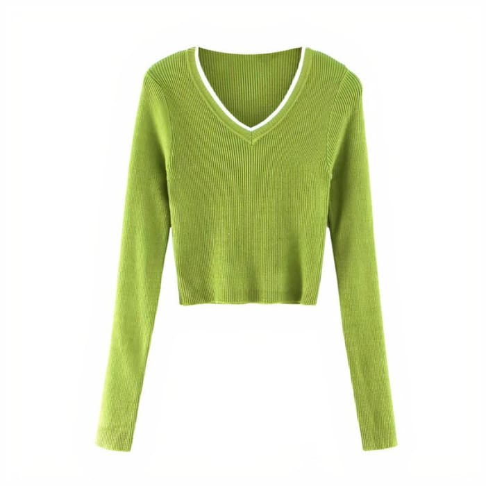 GREEN CROPPED SWEATER - Green / S