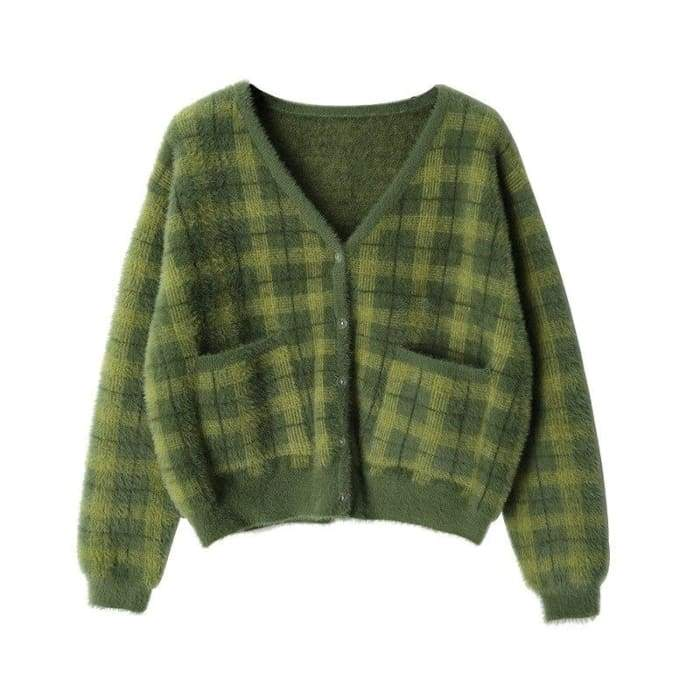 GREEN PLAID CARDIGAN - Green / One Size