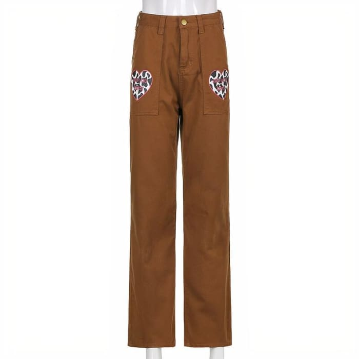 HEART BROWN JEANS - Brown / M