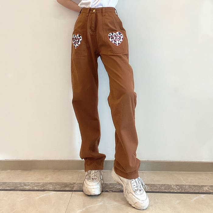 HEART BROWN JEANS