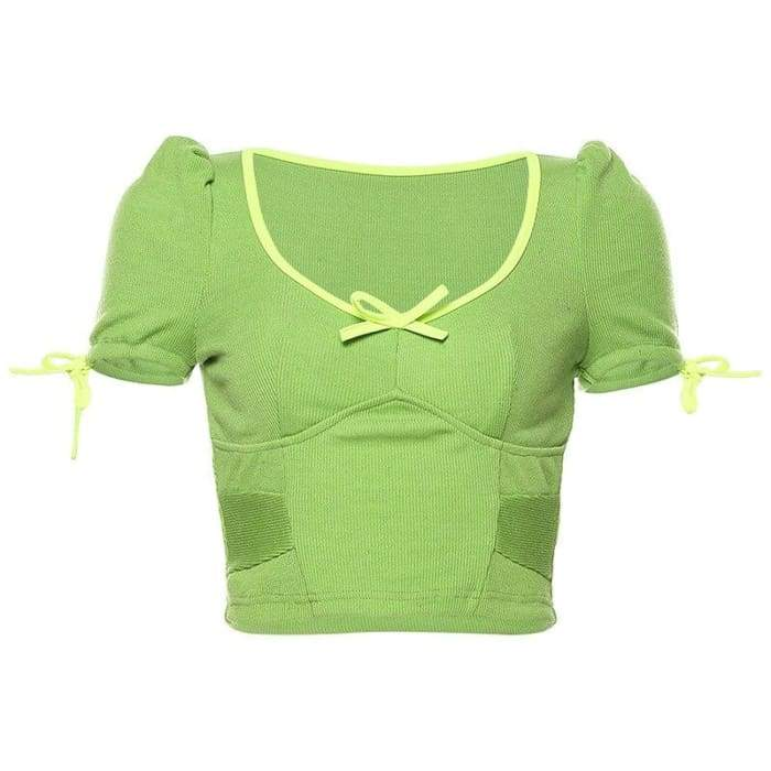 KNITTED GREEN TOP - Green / M