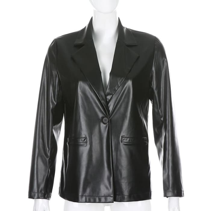 LEATHER COAT - Black / S