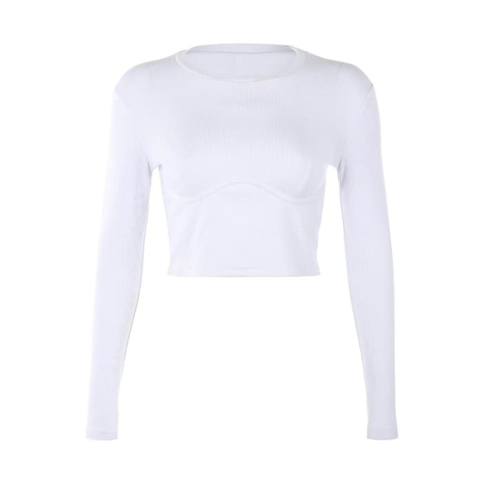 LONG SLEEVE TOP - White / L