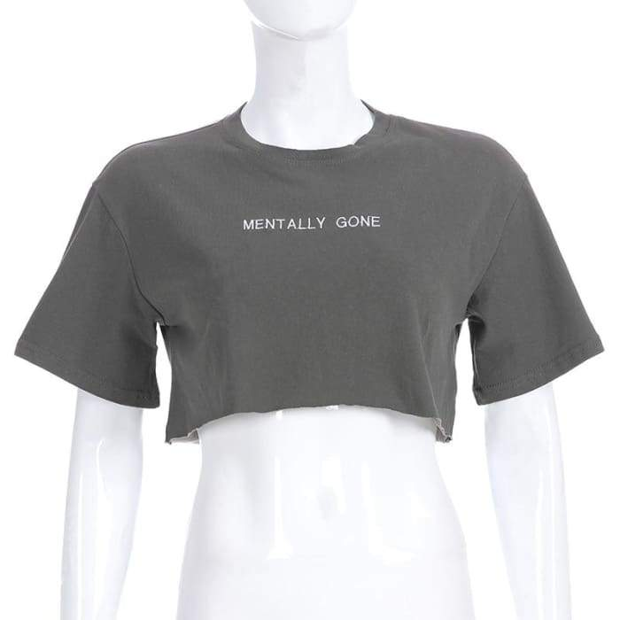 MENTALLY GONE CROP TOP - Grigio / L
