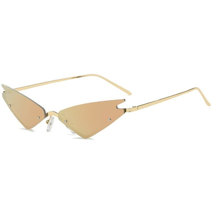 MIRROR CAT EYE SUNGLASSES - Champagne